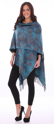 Parsley & Sage - Mandela teal colored French Cape in unique geometric pattern