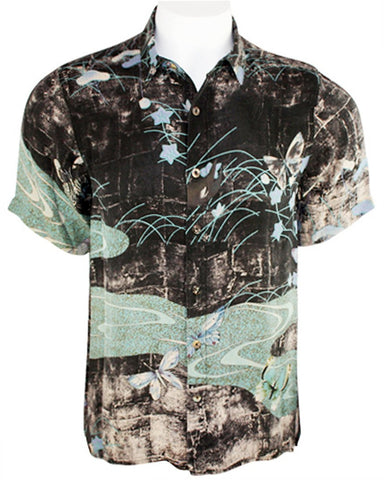 Citron - Butterflies Along River, Asian Style Vintage Button Front Silk Men's Shirt