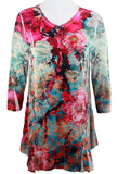 Cactus Fashion - Fuchsia Flower, Floral Print Rhinestone Burnout Tunic Top