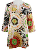 Joyous & Free - Bohemian Fun, 3/4 Sleeve Tunic Split V-Neck Collar & Side Pleats