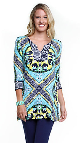 Joyous & Free - Medallion, 3/4 Sleeve Tunic Mini Dress with Sweetheart Collar