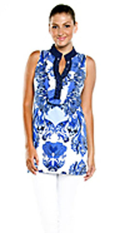 Joyous & Free - Blue Orchid, Sleeveless Tunic Mini Dress V-Neck Collar