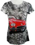 Big Bang Clothing - Red Car, Short Sleeve Scoop Neck Rhinestone Print Top