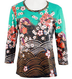 Breeke - Asian Flowers, Scoop Neck, Hand Silk Screened 3/4 Sleeve Artistic Top