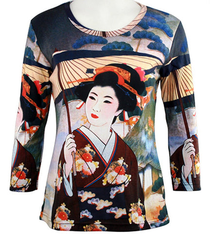 Breeke - Japanese Geisha, Scoop Neck, Hand Silk Screened 3/4 Sleeve Art Top