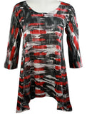 Nally & Millie - Red Strokes, Asymmetric Hi-Low Hem Lightweight Print Tunic