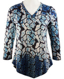 Boho Chic Long Sleeve Asymmetric Hem Fashion Tunic Top - Spotted Blue