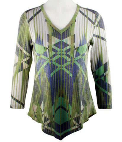 Boho Chic - Across Town, Long Sleeve Asymmetric Hem Fashion Tunic Top