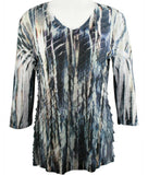 Jess & Jane - Denims, 3/4 Sleeve V-Neck Ruffled Sublimation Top