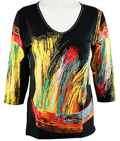 Valentina Signa - Brushed Colors Fashion Top 3/4 Sleeve Rhinestone Accents