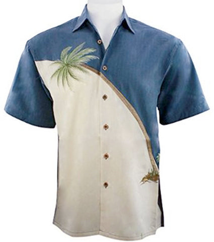 Bamboo Cay - Hurricane Palm, Embroidered Tropical Style Blue Color Men's Shirt