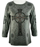Cactus Fashion - Cross & Deco, 3/4 Sleeve, Scoop Neck Rhinestone Print Top