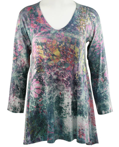 Nally & Millie - Morning Flower, Hi-Low Hem, V-Neck Lightweight Print Tunic