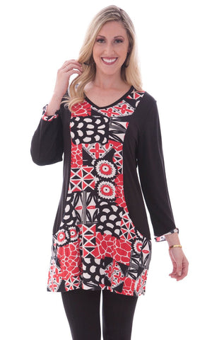 Parsley & Sage - Lori 3/4 slv black & red tunic designed in a patchwork pattern