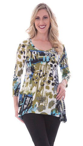 Parsley & Sage - Madeline, 3/4 sleeve, scoop neck tunic with geometric accents