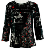 Jess & Jane - Reindeer Dreams, 3/4 Slv Scoop Neck Cotton Top Rhinestone Accents