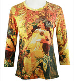 Breeke - Mucha Autumn, Scoop Neck, Hand Silk Screened 3/4 Sleeve Artistic Top