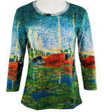 Breeke - Red Boats in Argenteuil, Scoop Neck, Hand Silk Screened 3/4 Slv Art Top