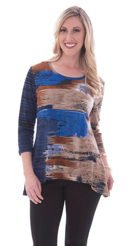 Parsley & Sage - Diane, 3/4 sleeve scoop neck tunic in a multi-colored pattern