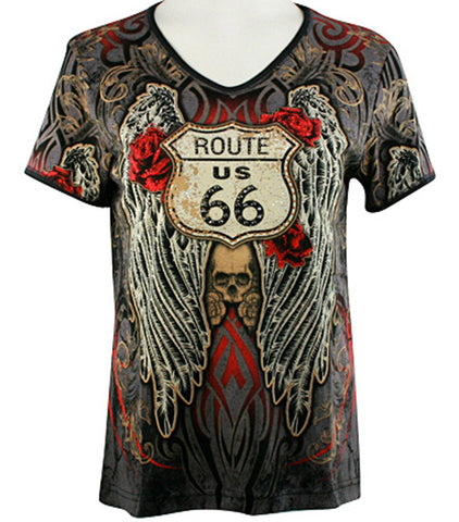 Cactus Bay Apparel - Rt 66 Wings, Short Sleeve, V-Neck, Rhinestone Cotton Top