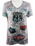 Cactus Bay Apparel - America's Highway, Short Sleeve V-Neck Rhinestone Cotton Top