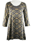 Nally & Millie - Crossed Stripes, Scoop Neck, 3/4 Sleeve, Knit Tunic
