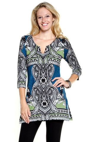 Joyous & Free - Blue Border, 3/4 Sleeve Tunic Mini Dress Split V-Neck Collar