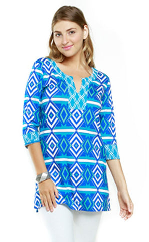 Joyous & Free - St Tropez, 3/4 Sleeve Tunic Mini Dress with Sweetheart Collar