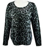 Christine Alexander - Grey Leopard, Crew Neck Sweater Swarovski Crystal Accents