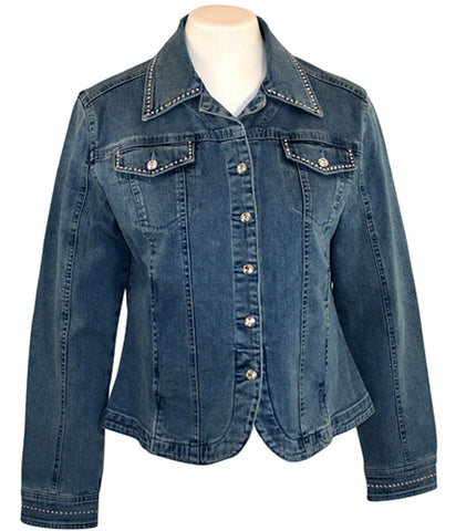 Christine Alexander - Crystal Lines, Fitted Denim Jacket with Swarovski Crystals
