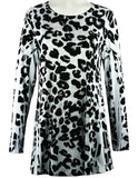 Christine Alexander - Snow Leopard, Swarovski Crystal Accented Scoop Neck Top