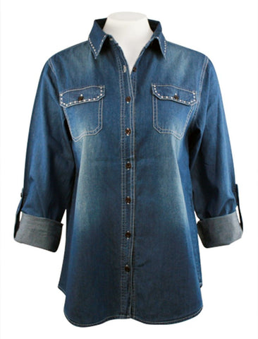 Christine Alexander - Clear Crystal Trim, Denim Shirt with Swarovski Crystals