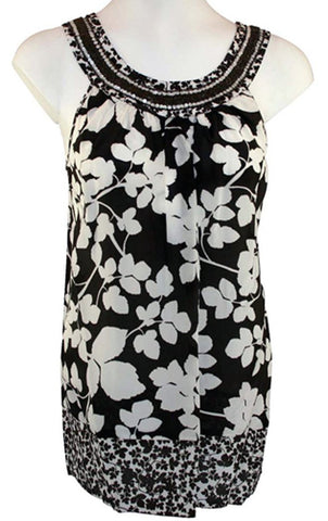 Karen Kane -Beaded Tank, Floral Print, Sleeveless Scoop Neck Tank Top