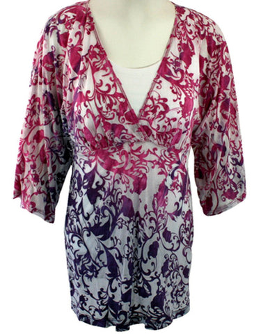Karen Kane - Tropical Splash, Tie Dye Kimono, 3/4 Sleeve, V-Neck Top