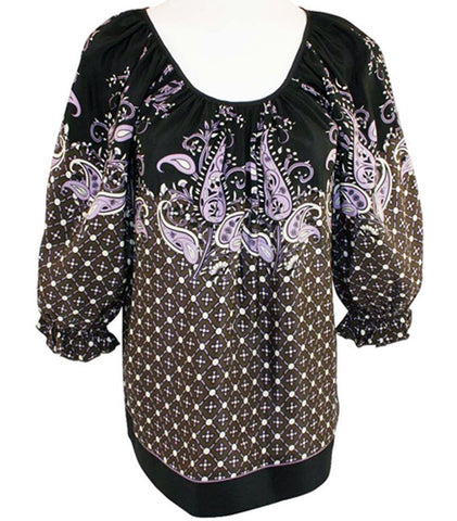 Karen Kane Ruffle Border Print, Blouson Sleeves, Scoop Neck Tunic Top