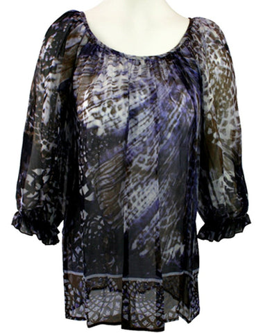 Karen Kane 100% Silk Blue Geometric Print, 3/4 sleeves Round Neck, Blouson Top