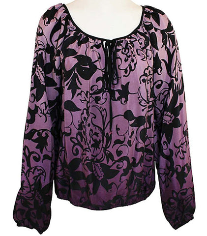 Karen Kane - Plush Purples, Swirl Print Blouson Sleeve Scoop Neck Tie Top
