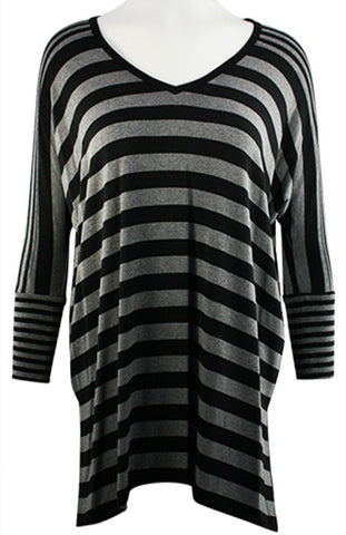 Karen Kane - Combo Stripe, Hi-Lo Hem, Long Sleeve, V-Neck Tunic Top
