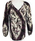Karen Kane Jeweled Neckline Geometric Print, Long Sleeve, Split Neck Top