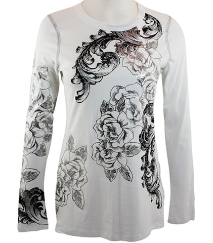 Karen Kane - Metallic Tee, Floral Foil Print, Long Sleeve, Round Neck Top