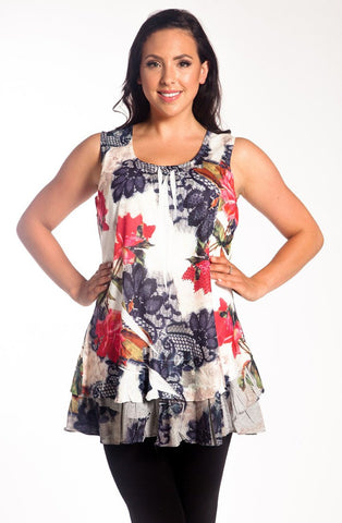 Creation - Ruffled Floral, Scoop Hem, Ruffled Hem Floral Print Tunic Top