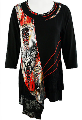 Creation - Lined Lace, 3/4 Sleeve Trimmed Scoop Neck Tunic with Lace Accents