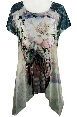 Creation - Floral Feathers, Short Sleeve Asymmetric Hem Floral Print Tunic
