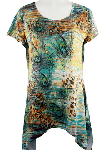 Creation - Peacock Feathers, Asymmetric Hem Geometric Print Tunic Top