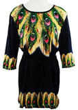 Creation - Feather Array, 3/4 Sleeve Scoop Neck Geometric Print Tunic Top