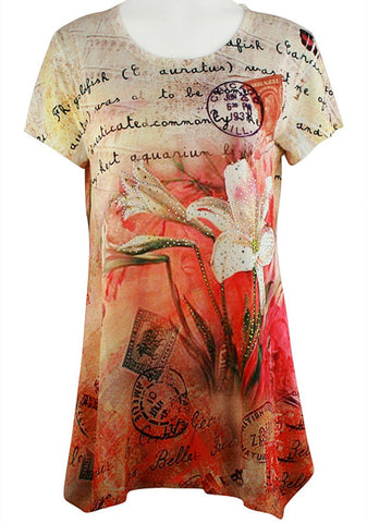 Creation - Floral Pastel, Short Sleeve, Floral Print Rhinestone Tunic Top
