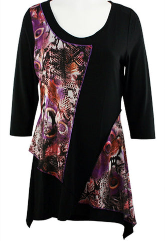 Creation - Purple Peacock Feathers, Asymmetric Hem Geometric Print Tunic