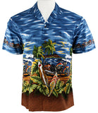 Ky's International Cycles & Boards Fashion Men's Hawaiian Shirt, Navy Blue