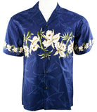 Ky's International White Flowers Fashion Men's Hawaiian Shirt, Navy Blue