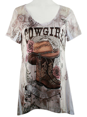 Big Bang Clothing Company Cowgirl, V-Neck Rhinestone Lace Trimmed Back Print Top